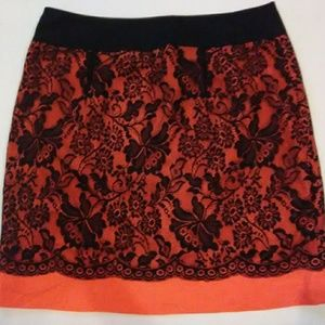 NWT THE LIMITED ORANGE LACE SKIRT SIZE 10
